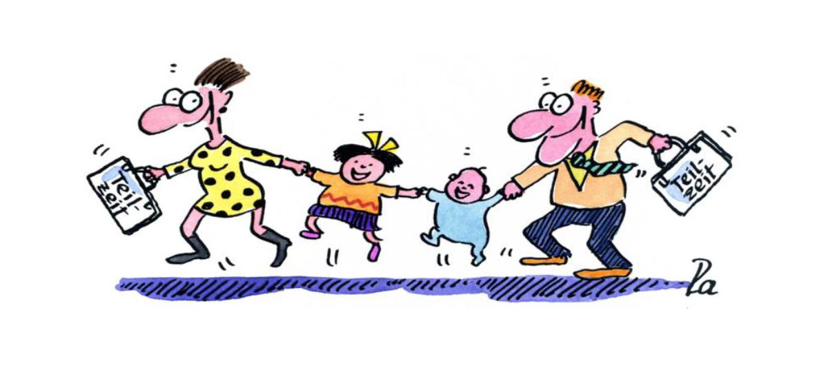 Comic Fröhliche Familie